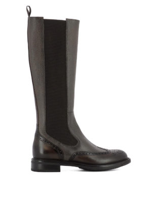 Santoni: boots - Hammered leather brogue boots