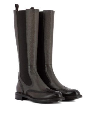 Santoni: boots online - Hammered leather brogue boots