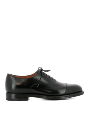 Santoni: classic shoes - Black leather classic Oxford shoes