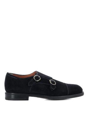 Santoni: classic shoes - Blue suede monk straps