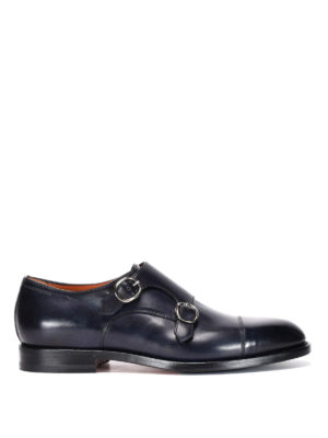 Santoni: classic shoes - Brushed leather monk strap shoes