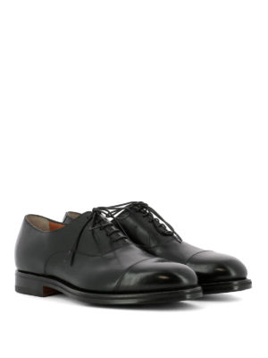 Santoni: classic shoes online - Black leather classic Oxford shoes
