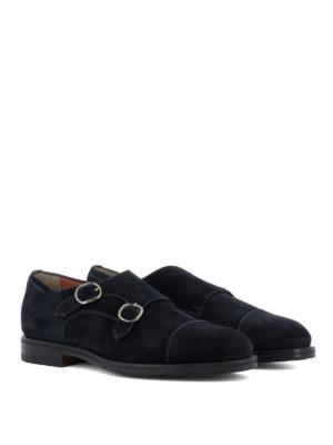 Santoni: classic shoes online - Blue suede monk straps