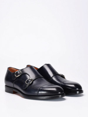 Santoni: classic shoes online - Brushed leather monk strap shoes