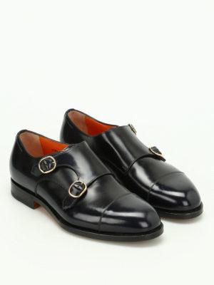 Santoni: classic shoes online - Polished leather monk strap shoes