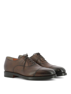 Santoni: classic shoes online - Shaded brown leather Oxford shoes