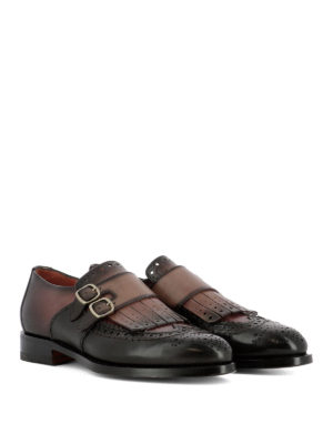 Santoni: classic shoes online - Shaded leather brogue monk straps