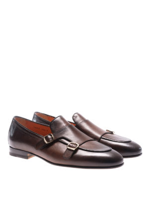 Santoni: classic shoes online - Shaded leather monk straps