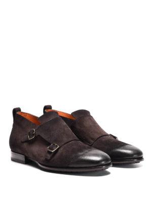 Santoni: classic shoes online - Suede two-buckle monk straps