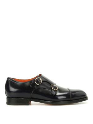 Santoni: classic shoes - Polished leather monk strap shoes