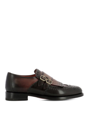 Santoni: classic shoes - Shaded leather brogue monk straps