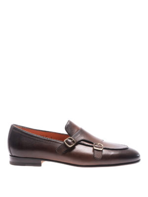 Santoni: classic shoes - Shaded leather monk straps