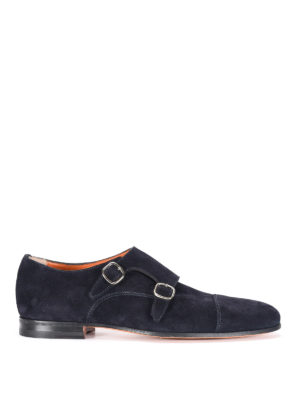 Santoni: classic shoes - Suede monk strap shoes