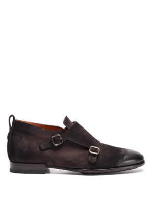 Santoni: classic shoes - Suede two-buckle monk straps