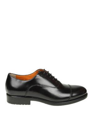 SANTONI: scarpe stringate - Oxford in pelle nera con suola carrarmato