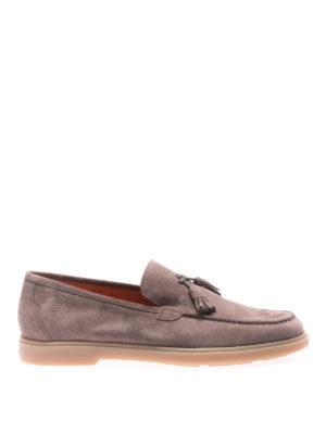 Santoni: Loafers & Slippers - Brown suede loafers with tassels