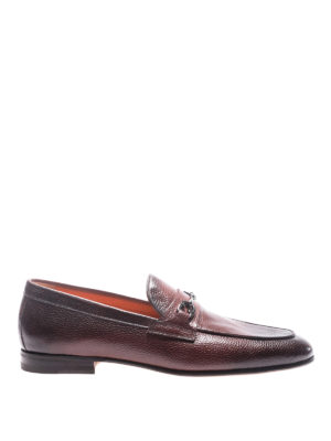 Santoni: Loafers & Slippers - Burgundy grained leather loafers