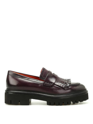 Santoni: Loafers & Slippers - Leather loafers with maxi sole