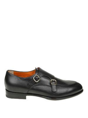 SANTONI: Mocassini e slippers - Monk strap in pelle con suola antiscivolo