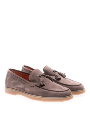 Santoni: Loafers & Slippers online - Brown suede loafers with tassels
