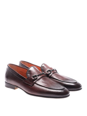 Santoni: Loafers & Slippers online - Burgundy grained leather loafers