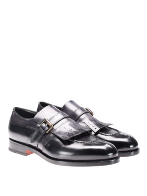Santoni: Loafers & Slippers online - Leather loafers with fringes