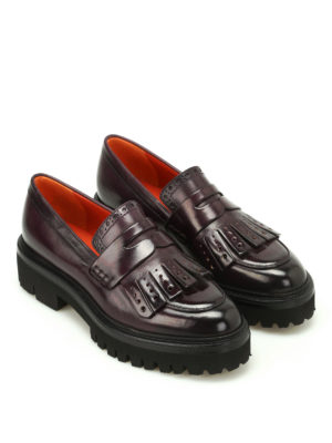 Santoni: Loafers & Slippers online - Leather loafers with maxi sole