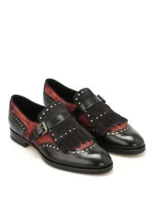 Santoni: Loafers & Slippers online - Suede and leather monk strap
