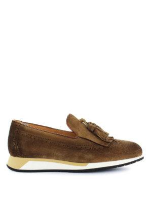 SANTONI: Mocassini e slippers - Mocassini in suede suola running