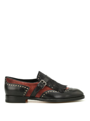 Santoni: Loafers & Slippers - Suede and leather monk strap