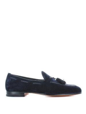 SANTONI: Mocassini e slippers - Mocassini in camoscio blu con nappe
