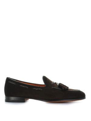 SANTONI: Mocassini e slippers - Mocassini in camoscio con nappe