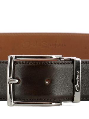 SANTONI: cinture online - Cintura in pelle marrone