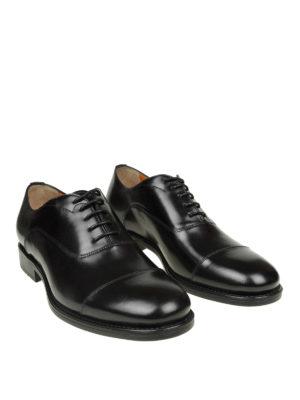 SANTONI: scarpe stringate online - Oxford in pelle nera con suola carrarmato