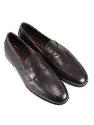 SANTONI: Mocassini e slippers online - Mocassini College in pelle anticata