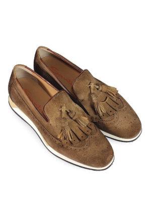SANTONI: Mocassini e slippers online - Mocassini in suede suola running