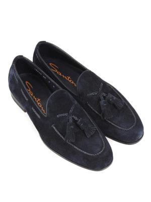 SANTONI: Mocassini e slippers online - Mocassini in camoscio blu con nappe