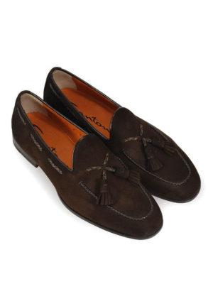 SANTONI: Mocassini e slippers online - Mocassini in camoscio con nappe