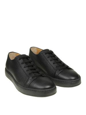 SANTONI: sneakers online - Sneaker basse in pelle martellata nera