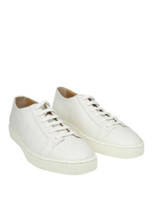 SANTONI: sneakers online - Sneaker basse in pelle martellata bianca