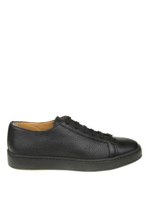 SANTONI: sneakers - Sneaker basse in pelle martellata nera