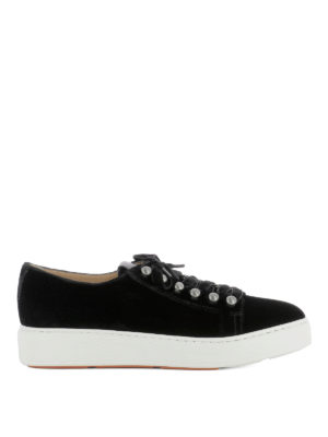 Santoni: trainers - Black suede low top sneakers
