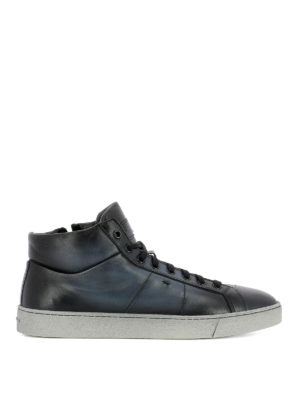 Santoni: trainers - Blue shaded leather high sneakers