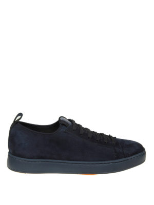 SANTONI: sneakers - Sneaker basse in camoscio blu