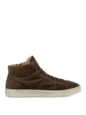 Santoni: trainers - Brown suede high top sneakers