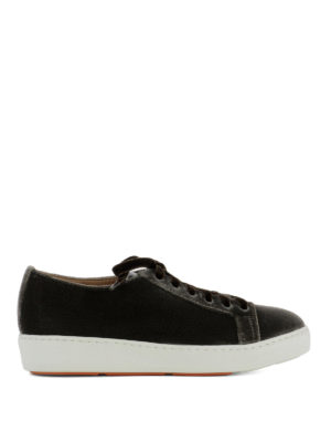 Santoni: trainers - Brown velvet low top sneakers