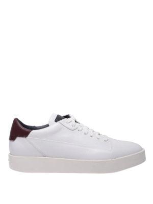 SANTONI: sneakers - Snaker in pelle con dettaglio a contrasto