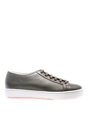Santoni: trainers - Green hammered leather sneakers