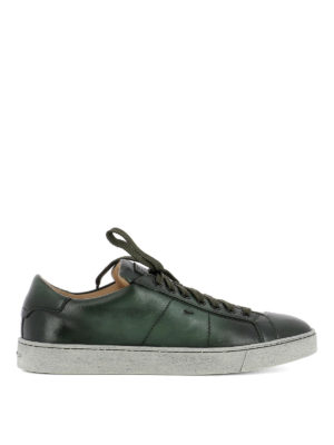 Santoni: trainers - Green shaded leather low sneakers