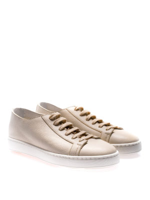 Santoni: trainers online - Beige hammered leather sneakers